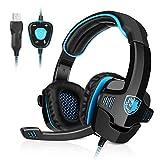 GHB Sades Auriculares Gaming Cascos con Microfono SA-901 Sonido Envolvente 7.1 con USB para PC...