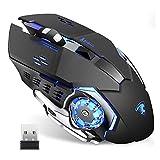 TENMOS T85 Raton Inalambrico Gaming, 2.4G USB LED Recargable Ratón Inalámbrico silencioso óptico,...