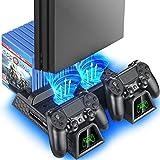 OIVO Soporte Vertical con Ventilador de Refrigeración para PS4/PS4 Pro/PS4 Slim, Estación de Carga...