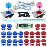 SJ@JX 2 Player Arcade Game DIY Kit LED Button Zero Delay USB Encoder 2 Player Mechanical Keyboard...