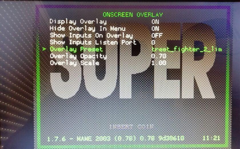 Onscreen OVerlay Config bezels retropie