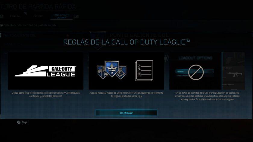 call of duty league reglas