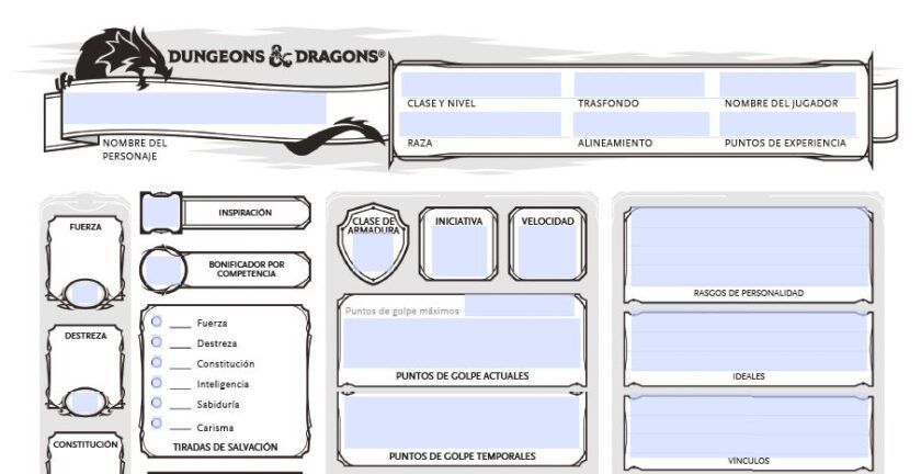 hoja de personaje oficial rol dungeons & dragons