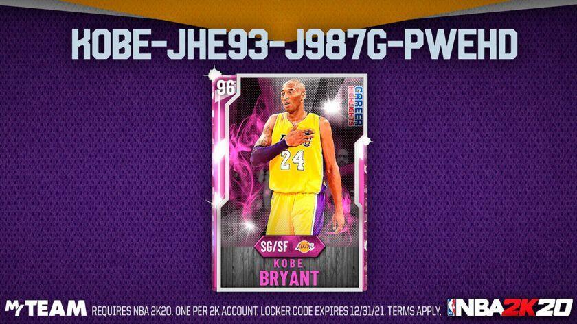 códigos vestuario carta diamante kobe rosa NBA2K20