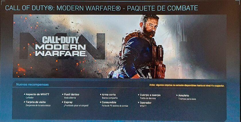 contenido paquete batalla modern warfare