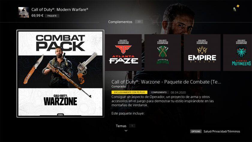 paquete de combate modern warfare