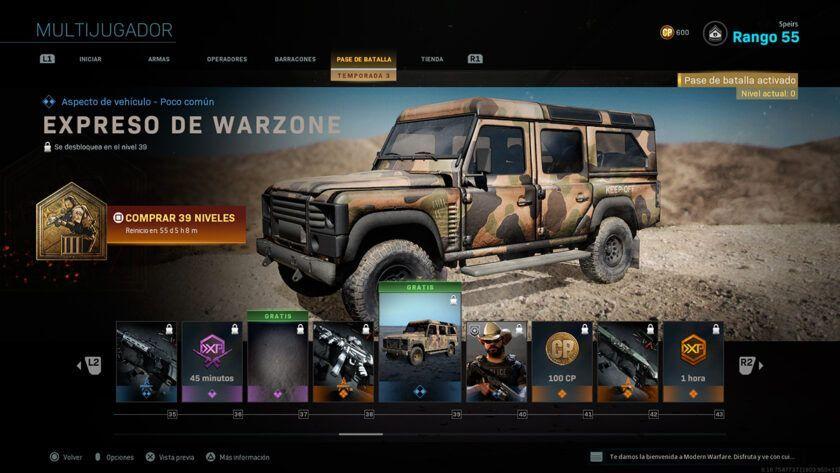 personalizar vehículos warzone call of duty