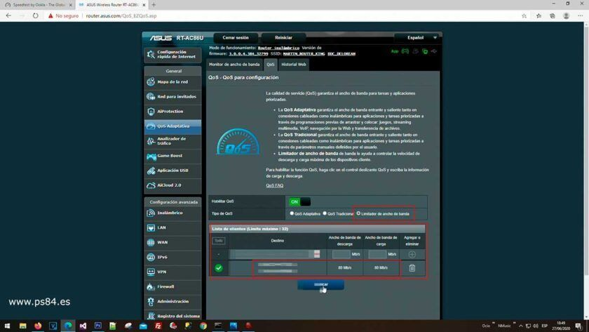 qos asus rt-ac86u mejorar reducir ping consolas
