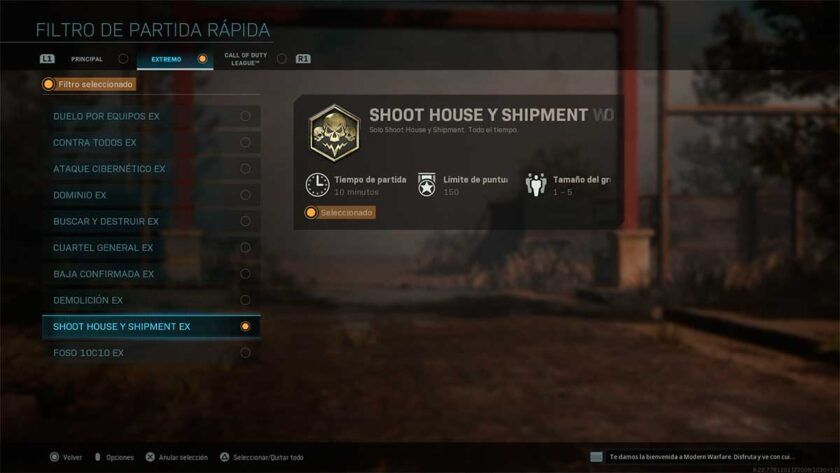 activar modo extremo shoothouse y shipment