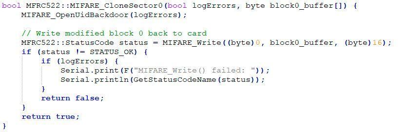 copiar bloque 0 mifare arduino