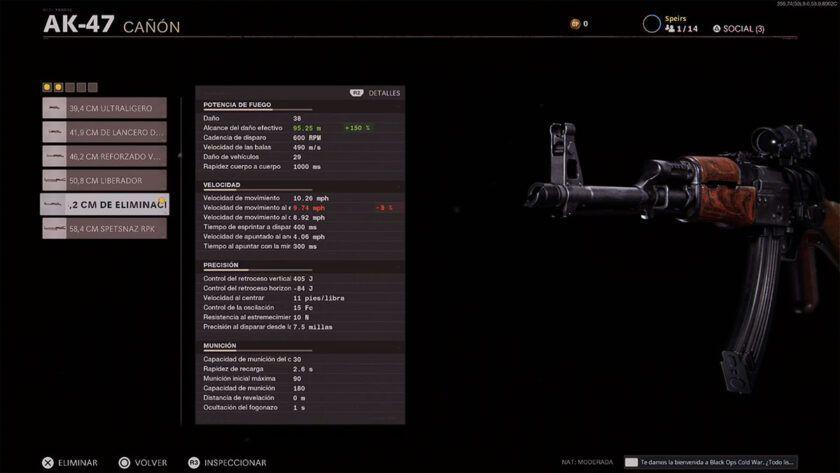 alcance del daño ak47 vold war
