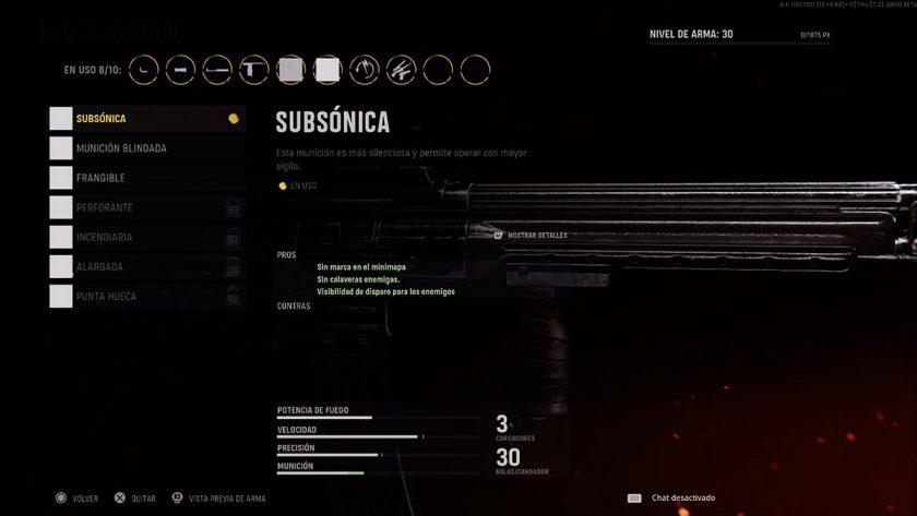 munición subsónica call of duty vanguard